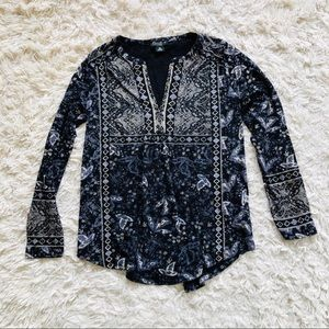 LUCKY BRAND • Patterned Tunic • Navy Blue